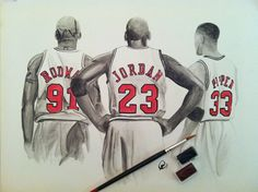 16x20 Watercolor Painting of Dennis Rodman, Michael Jordan, Scottie Pippen done by Megan Cardwell on canvas