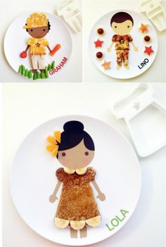 Such cool personalized plates for kids! Cookie cutters help shape food into clothing for picky eaters.