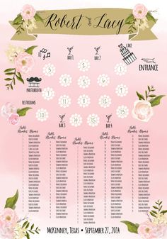 Custom Wedding Seating Chart Digital Download by cwdesigns2010 on Etsy  cws-designs.com
