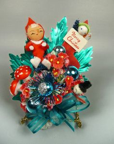 Christmas Corsage Vintage Elf Pixie Spun Cotton Snowman by meaicp, $28.00