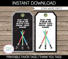 Star Wars Party Favor Tag or Thank You Tag - Lightsaber - INSTANT DOWNLOAD and EDITABLE template - type your own text in Adobe Reader