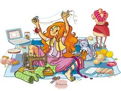 Pasión por la costura ♥ Sewing Clipart, Sewing Station, Sewing Cards, Old Sewing Machines, Cartoon Pics, Cute Illustration, Crochet Designs, Illustrations, Vintage Sewing