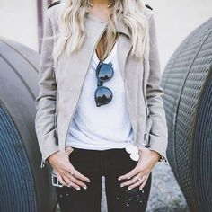 beige leather jacket + black jeans