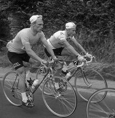 Rudi Altig and Jacques Anquetil, Tour de France, 1966.