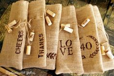 Cute idea for a #DIY burlap wine bag. Great for parting gift at party