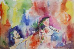 Buy Holi, the spring festival, Watercolor by Geeta Biswas on Artfinder. #holi #watercolor #love #fun #art #holipainting #springfestival #hindufestival #festivalofcolors