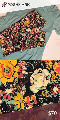 2xl perfect t and TC2 leggings! Gorgeous outfit, can swap out TC2 for REG tc ! Beautiful light aqua and gorgeous flowers on a dark blue Outfit LuLaRoe Other