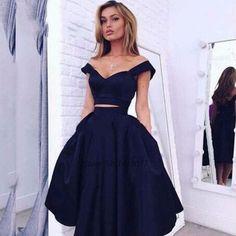 Vestidos de baile 2017 Azul Marinho 2 Peça Vestidos Curtos Prom barato cetim na altura do joelho prom dress importado vestidos de festa sexy Gala