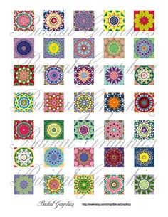 Kaleidoscope multicolor mixed pattern Digital Collage Sheet square 1x1 inch. Printable images for pendants cabochon button  by BaikalGraphics, $3.50