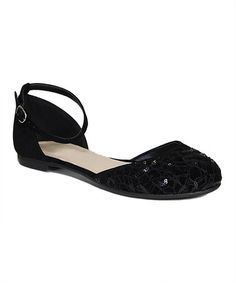 Another great find on #zulily! Black Sequin Lynda Ankle-Strap Flat #zulilyfinds