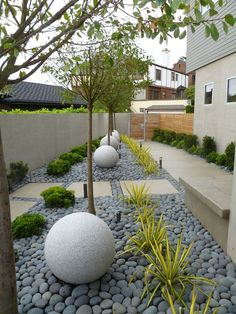 Contemporary Landscape/Yard with Mexican Beach Pebbles, Fence, Raised beds, Pathway, Gate, exterior stone floors