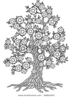 Tree Mandala Coloring Pages Doodle Blossom Tree Coloring Book for Adult Meditation Tree Coloring Page, Quote Coloring Pages, Adult Coloring Book Pages, Doodle Coloring, Flower Coloring Pages, Mandala Coloring Pages, Colouring Pages, Printable Coloring Pages, Coloring Books