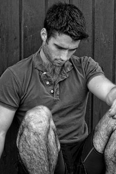 barbatulus: bw hairy young man, outdoor sport