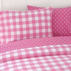 Gingham and polka dot bedding