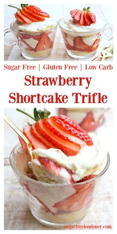 Bring summer vibes to your table with a strawberry shortcake trifle! This simple dessert classic comes together in only 11 minutes and even better, it's sugar free, low carb and gluten free! The trifle recipe is designed for two, but can be easily scaled Dessert Simple, Dessert For Two, Summer Dessert Recipes, Desserts Keto, Sugar Free Desserts, Sugar Free Recipes, Low Carb Recipes, Sugar Free Trifle Recipe, Sugar Free Strawberry Shortcake Recipe