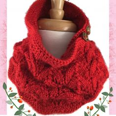 Ladies Scarf Neckwarmer Red Lace Caron Simply Soft