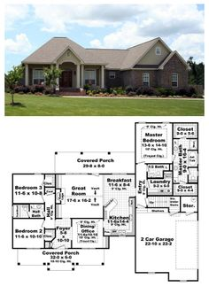 House Plan 59173   Total living area: 1900 sq ft, 3 bedrooms & 2.5 bathrooms. Looking for the plan that has it all? Then look no further. This home is packed with all the features that you've always wanted, all within 1900 s.f.