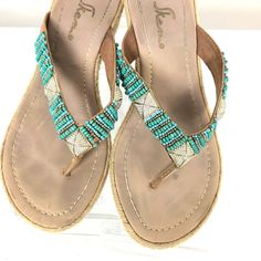 c02dadf71a0 Skemo Thong Wedge Sandal Sz 9 Jeweled Turquoise Crystal Detail  Skemo   EspadrillesWedgesThong  Casual
