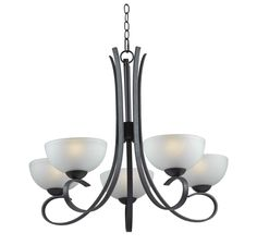 Kenroy Home Maple 5-Light Chandelier in Forged Graphite Finish in Ceiling Lights, Chandeliers, Indoor Chandeliers: ProgressiveLighting.com
