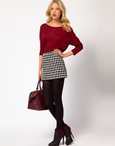Mango Dogtooth Mini Skirt