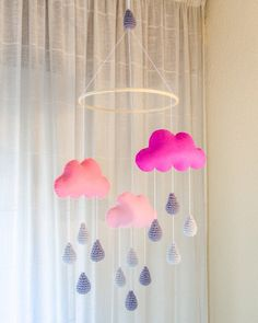 New Pink Clouds and Grey Rain Drops Mobile - Baby Mobile - Nursery Mobile - Crochet Mobile - Nursery Decor - Custom Colors. $80.00, via Etsy.