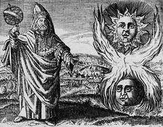 Hermes Trismegisto – Gravura de Daniel Stolcius Von Stolcenbeerg (médico 1600-1660, escritor de alquimia), editada na publicação Viridarium Chymicum, de 1624.