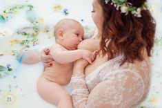 Beautiful momma and her beautiful boy hit the 6 month mark of breastfeeding. What better way to celebrate than a milk bath?! Photography by Glow by G