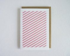 Geometric Pink Stripes - Gocco Printed Note Card by SarahPhelpsCreative, $5.00