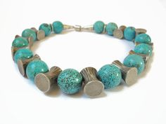 Blue turquoise howlite necklace, handmade gemstone beaded choker necklace of  howlite and Thai silver, finished with a magnetic lock. by FlorenceJewelshop on Etsy https://www.etsy.com/listing/129828419/blue-turquoise-howlite-necklace-handmade