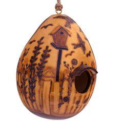 Fair Trade Garden Carved Gourd Birdhouse