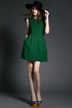 Green Beaded Dress