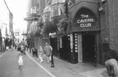 """THIS DAY IN ROCK HISTORY:  August 7, 1957:   The Quarry Men, later to be renamed The Beatles, play the Cavern Club in Liverpool.    It's still a jazz club but skiffle is tolerated, but when John plays """"Hound Dog"""" and """"Blue Suede Shoes"""" the owner sends a note to the stage saying """"Cut out the bloody rock.""""   Noticeably absent:  Paul McCartney who is at Boy Scout summer camp."""