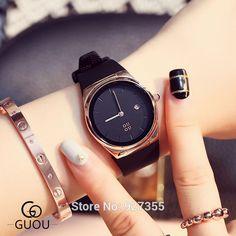 Watch Women 2017 GUOU Brand Luxury Fashion Silicone Strap Date Casual Quartz Watch Lovers Sport relojes mujer Girl Dress Clock  #Affiliate
