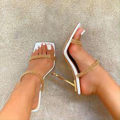 Fancy Shoes, Pretty Shoes, Pretty Sandals, High Heels Stilettos, Shoes Heels, Gold Sandal Heels, Stiletto Heels, Cute High Heels, White Heels