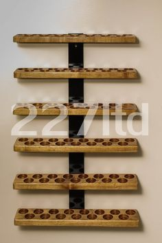 Essential Oil Shelf - Wall Mount - Metal Strap Style - Six Shelves - Holds 90 Oil bottles vials - Double slot size - Double slot rows