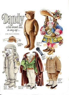 The Teddy Bear and Friends Paper Doll Fantasy: Dandy Art Origami, Paper Dolls Printable, Paper People, Paper Animals, Up Book, Dress Up Dolls, Bear Doll, Vintage Paper Dolls, Paper Toys