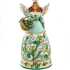 """Jim Shore Heartwood Collection """"May Birthstone Angel"""" Emerald 