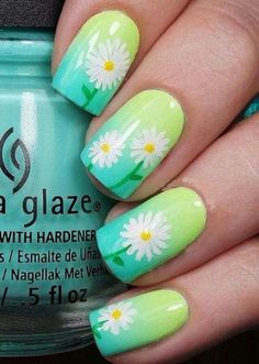 Floral nails are perfect for this season and this design is easier than it looks. Click above to learn how, plus 39 more easy nail art ideas. Green Nail Art, Floral Nail Art, Green Nails, Green Art, Flower Nail Designs, Best Nail Art Designs, Nail Designs Spring, Gel Designs, Floral Designs
