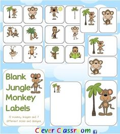Jungle Monkey Themed Blank Classroom Labels - PDF file 48 pages, There are 7 different designs of the same 12 images i.e 6 to a page, 4 to a page, 2 to a page, with the images in different positions and 2 sets with the images on a full-page. Includes cover page.Print and laminate all pages and store in an envelope folder, ready to go for when you need to label something or write a blurb to parents or put beside children's artwork.