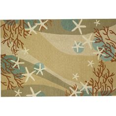 Coral Waves Rug is a coastal themed rug with waves of neutral colors accented with coral starfish and sand dollars.<br /> <br /> <br /> <br /> It is a durable polypropylene outdoor quality hooked rug. <br />