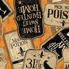 Halloween Fabric, Pick your Poison, Halloween Labels, Word Fabric, Halloween Sayings, Dark Orange Fabric, by Clothworks, Y2709-36 by AnnikasArts on Etsy Halloween Sayings, Halloween Labels, Halloween Fabric, Halloween 2020, Spirit Halloween, Halloween Treats, Halloween Make Up, Halloween Pumpkins, Funny Halloween