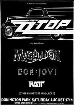 ZZ TOP Monsters Of Rock Donington Park UK 1985 vintgae poster by PetesRetroPosters on Etsy Tour Posters, Band Posters, Music Posters, Zz Top Concert, Rock Concert, Rock Band Logos, Rock Bands, Metal Bands, Pop Rock