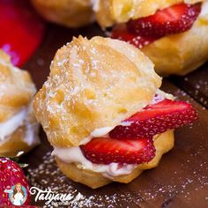 Delicate strawberry cream puffs! These are so delicious and easy to make! Filled with strawberry whipped cream and fresh strawberries!