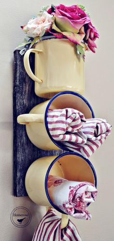 Kitchen Decorating DIY Enamel Mug Organizer by Homeroad, 20 DIY Farmhouse Projects via A Blissful Nest - This post is full of rustic and weathered looks! Farmhouse decor is beautiful. Let these 20 DIY Farmhouse Projects inspire you to do your own!