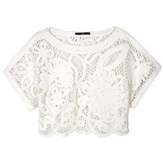 TIBI Mateo Crochet Cropped Top (275 AUD) ❤ liked on Polyvore featuring tops, crop tops, shirts, t-shirts, cut-out crop tops, shirt top, white scallop top, shirt crop top and macrame top