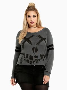 "<p>The Suicide Squad is the only squad we want to be in! And this sweater is our ticket in. The grey knit is a cozy alternative to Harley's booty shorts, while the skull intarsia graphic is born to be bad with shredding down the front.</p>  <p> </p>  <p><b>Model is 5'10"", size 1</b></p>  <ul> 	<li style=""LIST-STYLE-POSITION: outside !important; LIST-STYLE-TYPE: disc !importa..."