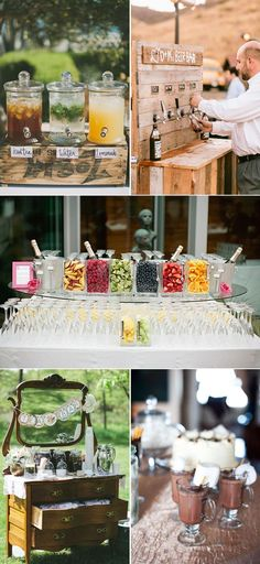 18 Perfect Wedding Drink Bar and Station Ideas for Fall Weddings Backyard Wedding - Wedding Perfect Wedding Drink Bar and Station Ideas for Fall Weddings backyard cozy and sweet rustic bridal shower ideas Drink Bar, Bar Drinks, Beverages, Diy Wedding, Wedding Events, Rustic Wedding, Dream Wedding, Wedding Day, Weddings