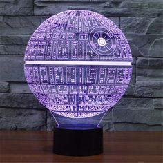 7 Color Table Desk Lamp Light Changing 3D LED Night Death Star Touch Switch #Unbranded
