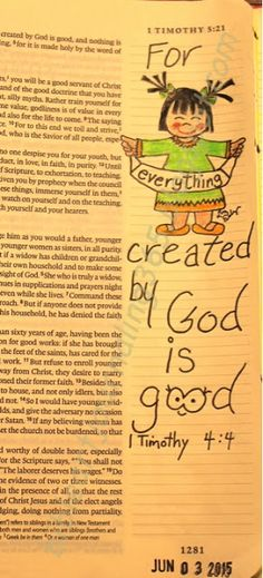 Easy Bible Art Journaling Journey: 1 Timothy 4:4 (June 3rd) Timothy Bible, 1 Timothy, Scripture Cards, Scripture Study, Scripture Signs, E Bible, Bible Scriptures, Famous Bible Quotes, Bible Knowledge
