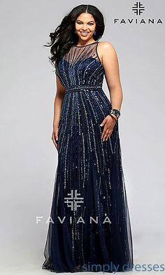 Plus Size Floor Length Beaded Prom Dress by Faviana